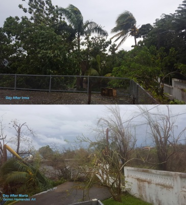 Our terraza on the day after Irma and the day after Maria.