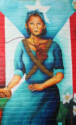 Julia de Burgos and Puerto Rican flag by Yasmin Hernandez Art